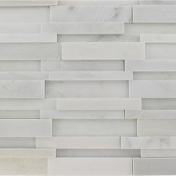 """GlassTileStore - Illusion 3d Brick Asian Statuary Pattern - ILLUSION 3D BRICK ASIAN STATUARY MARBLE PATTERN MOSAIC TILE]  This distinctive pattern is made of various sized pieces of marble in Asian statuary. The 3D brick pattern gives a unique and elegant design to your room. This modern and contemporary tile can be used as a feature wall, backsplash, fireplace, bathroom, or kitchen.      Chip Size: 5/8"""" x 4, 3/4"""" x 4, 1 1/2"""" x 4   Color: Asian Statuary   Material: Marble Mosaic   Finish: Polished   Sold by the Sheet - each sheet measures 12"""" x 12"""" (1sq. ft.)   Thickness: 8mm    - Glass Tile -"""