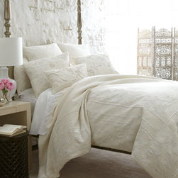 "Callisto Home - Callisto Home 15"" x 21"" Scrolls Pillow - Exquisitely hand-embroidered ivory linen bedding is a modern take on Jacobean style. By Callisto Home. Made of linen with rayon embroidery. Dry clean. Imported. Not shown: three-piece panel dust skirt by Fino Lino Linen & Lace®. Dust skirt fea..."