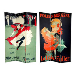 "Oriental Furniture - 6 ft. Tall Double Sided Moulin Rouge Room Divider - Bring home the merriment of turn of the century Parisian music halls with this bedazzling screen. On the front is an advertisement for Les Follies Bergere, rendered by lithographic visionary Jules Chéret, who's skill at portraying women in an autonomous light earned him the unofficial moniker ""Father of Women's Liberation"". On the back is a stylish invitation to the world famous Moulin Rouge, now a major motion picture with Nicole Kidman. These vintage graphic art prints will bring a touch of class to your living room, bedroom, dining room, or kitchen. This three panel screen has different images on each side, as shown."