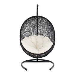 LexMod - Cocoon Wicker Rattan Outdoor Wicker Patio Swing Chair  Suspension Series - Outdoor Hanging Egg Chair