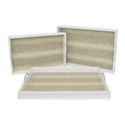 White Snakeskin Tray, Small - Whether holding cocktails at your dinner party, an eclectic arrangement of candles, or your collection of perfumes on the vanity, these white snakeskin trays feature a eye-catching textured surface.