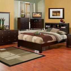 Alpine Furniture - Solana 6 PC Full Platform Bedroom Set with Bookcase Headboard - Solana 6 PC Full Platform Bedroom Set with Bookcase Headboard