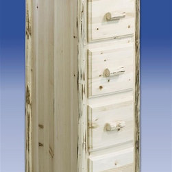 Montana Woodworks - Montana File Cabinet w 4 Drawers (Lacquered) - Finish: LacqueredHandcrafted. Lodge pole pine accents. Full extension. Ball bearing slides on each of the letter sized file drawers. 20 years limited warranty. Made from solid American grown pine. Hand-crafted in the US, each Montana Woodwork product is made from unprocessed, solid wood that highlights the character of its source tree with unique knots and grains. Made in USA. No assembly required. Drawer: 12 in. W x 17 in. D x 9 in. H. Overall: 23 in. W x 22 in. D x 61 in. H This ruggedly beautiful four drawer file cabinet nicely compliments the matching Montana Woodworks desks, not included. Increase the attractiveness of filing chores while adding rustic style and distinction to your home or office. This unit may also be used as a deep drawer, four drawer dresser.