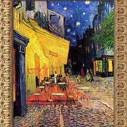 Amanti Art - Cafe Terrace at Night, 1888 by Vincent Van Gogh - More than a hundred years after Van Gogh painted it, the Cafe Terrace still serves its patrons in Arles, France. However, this little bistro changed its name to Cafe Van Gogh, in honor of the artist who immortalized its cobblestone streets.