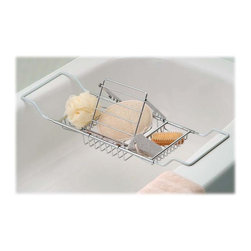 Taymor - Spa Bathtub Caddy Gift Set - Includes bathtub caddy, removable reading rack, hand loofah, nylon poof, nail brush and pumice stone. Protective vinyl grips to prevent scratching of the tub surface. Wipe clean with soft damp cloth. Do not use any harsh abrasives or chemicals. Made from plated steel. Chrome finish. Minimum: 21.5 in. L x 8 in. D x 2 in. H. Maximum: 36 in. L x 8 in. D x 2 in. H (3.75 lbs.)