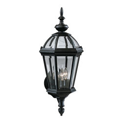 "KICHLER - KICHLER 9251BK Trenton Traditional Outdoor Wall Sconce - Utilizing classic design elements from colonial America, the Trenton Collection offers timeless design for today's aesthetic. Our striking Black finish helps recreate the look and feel of fixtures formed by blacksmiths hundreds of years ago. Skilled artisans re-create these handcrafted works of art from high quality cast aluminum with clear beveled glass panels to ensure the Trenton will last for years. If you're looking for a memorable fixture, this outdoor wall lantern is the perfect way to update your home's profile. Its three light design employs 60-watt (max.) bulbs for optimum lighting while the 23"" high lantern is U.L. listed for wet locations."