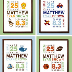 Nursery Artwork - Display a perfect keepsake birth print in your child's room. You can create a custom art print and choose your animal designs and colors to coordinate with you room.