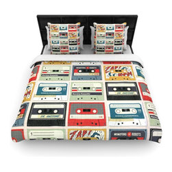 """Kess InHouse - Heidi Jennings """"Retro Tape"""" Multicolor Cotton Duvet Cover (King, 104"""" x 88"""") - Rest in comfort among this artistically inclined cotton blend duvet cover. This duvet cover is as light as a feather! You will be sure to be the envy of all of your guests with this aesthetically pleasing duvet. We highly recommend washing this as many times as you like as this material will not fade or lose comfort. Cotton blended, this duvet cover is not only beautiful and artistic but can be used year round with a duvet insert! Add our cotton shams to make your bed complete and looking stylish and artistic!"""