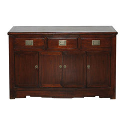 Tianjin Rattan-Top Buffet - Three-drawer elm buffet with rich brown finish and white brass hardware. Rounded edges with rattan top and scroll skirt bottom. New interior shelf and white brass hardware. Tianjin, China, circa 1890s.