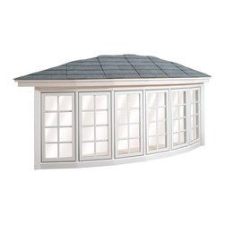 Bow Windows - 6 Lite Wellington Bow Window; shown in White with grids.