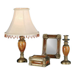"Meyda Tiffany - Meyda Tiffany 69537 Lamp Sets Boca Raton Collection - Boca Raton 4 Piece Vanity Set1 Mini Lamp (requires 1 60w max medium base bulb - not included)1 Mirror / Picture Frame (7"" X 5.5"")1 Jewelry Box (H 3"", W 5"", D 3.5"")1 Candlestick (7.5"" x 3"")Flute And Bead Accented Antique Brass Hand Finished Elements Surrounds Carnelian Stone In This Charming Four Piece Vanity Set. The Mini Lamp has a Goldenrod Fabric Shade"