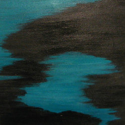 Night Dive (Original) by Debera - Night Dive is a Signed Original Acrylic Painting that comes with a Certificate of Authenticity.  Inspired by my one and only night dive in the Bahama's, I remember the black foliage creeping around the sandy sea floor that gave off a blue shimmer !   Abstract Impressionism begins with real subjects but invokes an emotion through color, texture, lines and shapes. Abstracts are often suited for a place where people gather because it's presence can stimulate conversation, connection and in some cases action! Next to your home, an office, lobby or workplace would make a great location.