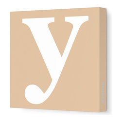 """Avalisa - Letter - Lower Case 'y' Stretched Wall Art, 18"""" x 18"""", Light Brown - Spell it out loud. These lowercase letters on stretched canvas would look wonderful in a nursery touting your little one's name, but don't stop there; they could work most anywhere in the home you'd like to add some playful text to the walls. Mix and match colors for a truly fun feel or stick to one color for a more uniform look."""