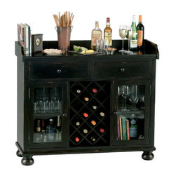 """Howard Miller - Cabernet Hills Wine and Spirits Console Beverage Server - Finished in a heavily distressed worn black and featuring seedy glass, this handsome console is a unique, fashion-forward storage solution. A decorative apron surrounds the serving area on three sides, and bun feet create a pleasing accent on the base. Features: -Quality construction built to last. -Metal drawer guides add stability. -Storage for 14 bottles of your favorite vintage. -Locking doors keep your wine secure. -Multiple holes allow for vertical shelf adjustment. -Our padded, metal shelf clips lock shelves in place for maximum stability and safety. -Four height-adjustable feet provide stability on uneven and carpeted floors. -Dimensions: 41"""" H x 48"""" W x 17"""" D."""