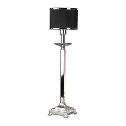 Uttermost - Silver Plated Metal Tuxedo Buffet Lamp - Silver Plated Metal Tuxedo Buffet Lamp