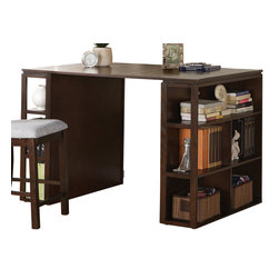 Steve Silver Furniture - Steve Silver Bradford Writing Desk in Dark Wood - Work comfortably and confidently with the Bradford writing desk and counter chair. This desk offers unique shelves displayed on the side. Show off your favorite books, or keep your files organized and accessible with the Bradford writing desk.