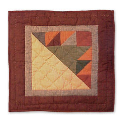 Patch Quilts - Sun Spirit Toss Pillow 16 x 16 Inch - Decorative patchwork quilted pillow  - Accents with ensembles and bedding items from Patch Magic   - Machine washable  - Line or Flat dry only Patch Quilts - TPSUSP