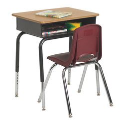 Ecr4kids - Ecr4Kids Metal Open Front Desk Pack Of 2 - Our open front desk is the perfect fit for any classroom. The metal book box comes with an indented pencil groove and plenty of room for books and papers. The attractive oak laminate top provides an excellent and roomy work area. The legs are adjustable so the desk can be used across a number of grade levels. Nylon swivel glides are adjustable to balance out floor unevenness.