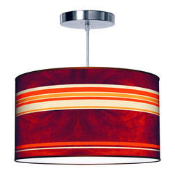 jefdesigns - Horizontal Stripey 2 Pendant Lamp - 16x9 - Get your stripes with this retro-inspired drum shade, which is printed in a vintage color palette over a wood-grain backdrop. This bright pendant lamp will add a rosy glow and so much style to any room in your house.