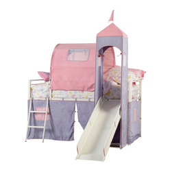 """Powell - Powell Princess Castle Twin Size Tent Bunk Bed with Slide X-960-473 - Fit for a Princess. The Princess Castle Tent Bunk Bed with Slide includes a tent over twin bed and a covered hiding place below. The top of the slides is tented with a Princess Tower with peek through, fold down window covers. Finished in White Powder Coat with Purple & Pink Microfiber fabric tent- 100% polyester. Uses a standard twin size mattress (sold separately). Only use a twin size mattress that is 74-75"""" long and 37.5-38.5"""" wide. Bunk bed is tested and certified by an independent testing laboratory to meet all minimum requirements of ASTM F1427-07 and U.S. CFR 1213 and 1513. Some assembly required."""
