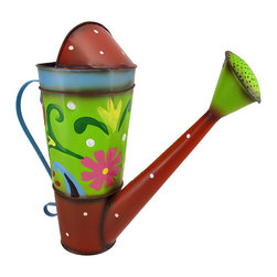 Colorful Decorative Watering Can Folk Art - This colorful watering can adds a whimsical accent to plant stands, gardens, flower beds, or your porch or patio. Made of metal, it measures 14 inches tall, 15 inches long, and 5 1/2 inches wide. This cheerful accent looks great inside your home, as well, and makes a lovely gift for a friend.