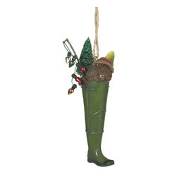 Midwest CBK - Wader Stocking Christmas Tree Ornament - Lake Fishing Rubber Boot Novelty Gift - Green Wader Stocking Christmas Ornament