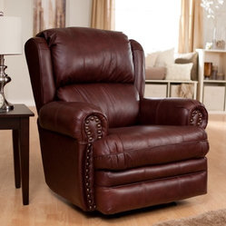 Catnapper Deluxe Buckingham Brown Leather Rocker Recliner