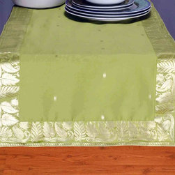 Indian Selections - Hand Crafted Olive Green Table Runner, 14 X 70 Inches - Fabric: Poly Art Silk Sari fabric