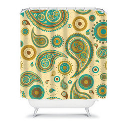 Shower Curtain Flower Paisley Turquoise 71x74 Bathroom Decor Made in the USA - DETAILS: