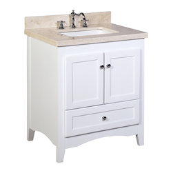 Kitchen Bath Collection - Abbey 30-in Bath Vanity (Crema Marfil/White) - This bathroom vanity set by Kitchen Bath Collection includes a white Shaker-style cabinet with soft close drawers and self-closing door hinges, double-thick Spanish Crema Marfil countertop (an incredible 1.5 inches at the edge!), single undermount ceramic sink, pop-up drain, and P-trap. Order now and we will include the pictured three-hole faucet and a matching backsplash as a free gift! All vanities come fully assembled by the manufacturer, with countertop & sink pre-installed.