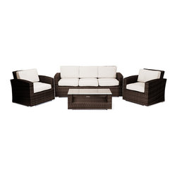 "Reef Rattan - Reef Rattan Abaco 4 Pc Conversation Set with Deep Seating Sofa - Chocolate Ratta - Reef Rattan Abaco 4 Pc Conversation Set with Deep Seating Sofa - Chocolate Rattan / Beige Cushions. This patio set is made from all-weather resin wicker and produced to fulfill your needs for high quality. The resin wicker in this patio set won't fade, shrink, lose its strength, or snap. UV resistant and water resistant, this patio set is durable and easy to maintain. A rust-free powder-coated aluminum frame provides strength to withstand years of use. Sunbrella fabrics on patio furniture lends you the sophistication of a five star hotel, right in your outdoor living space, featuring industry leading Sunbrella fabrics. Designed to reflect that ultra-chic look, and with superior resistance to the elements in a variety of climates, the series stands for comfort, class, and constancy. Recreating the poolside high end feel of an upmarket hotel for outdoor living in a residence or commercial space is easy with this patio furniture. After all, you want a set of patio furniture that's going to look great, and do so for the long-term. The canvas-like fabrics which are designed by Sunbrella utilize the latest synthetic fiber technology are engineered to resist stains and UV fading. This is patio furniture that is made to endure, along with the classic look they represent. When you're creating a comfortable and stylish outdoor room, you're looking for the best quality at a price that makes sense. Resin wicker looks like natural wicker but is made of synthetic polyethylene fiber. Resin wicker is durable & easy to maintain and resistant against the elements. UV Resistant Wicker. Welded aluminum frame is nearly in-destructible and rust free. Stain resistant sunbrella cushions are double-stitched for strength and are fully machine washable. Removable covers made with commercial grade zippers. Tables include tempered glass top. 5 year warranty on this product. PLEASE NOTE: Throw pillows are NOT included. Three Seat Sofa: W 73"" D 29"" H 31"", Chairs (2): W 29"" D 29"" H 31"", Coffee Table: W 39"" D 20"" H 15"""