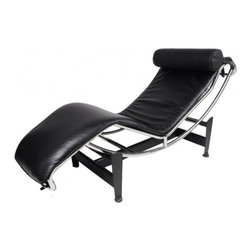 "Serenity Living Stores - Le Corbusier LC4 Style Lounge Chair - Aniline Leather, Black - The most coveted and successful design from Le Corbusier's original designs of the 1920s would undoubtedly have to be the Le Corbusier LC4 Lounge Chair. This chair was first showcased in 1929 at the Salon D'Automne in Paris, France. The Le Corbusie LC4 Lounge Chair, created in 1928, was the result of a collaborative vision in 1928 and the influential designers behind Le Corbusier's vision included Pierre Jeanneret and Charlotte Periand. This chair was originally commissioned for the interior design of a villa located in the Vilee d'Avray- located in the western suburbs of Paris, France. Otherwise known as the ""relaxing machine,"" the LC4 Lounge Chair is a lounge that contours to the body's natural curves and at the same time it appears to float about its supports. The frame of this chair is very giving as its positions located on the base use gravity and the users natural weight to create a variety of reclining positions. Overall Dimensions: 23.6"" H x 63""L x 22.8"" D"