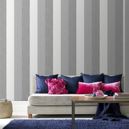 Graham & Brown - Java Stripe Wallpaper - One of our best selling textured striped wallpaper designs, a bold thick stripe design with a relatively heavy texture that will add some real warmth to your room, this grey design gives it a very contemporary twist.
