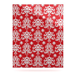 "Kess InHouse - Miranda Mol ""Ornate Trees Red"" White Holiday Metal Luxe Panel (16"" x 20"") - Our luxe KESS InHouse art panels are the perfect addition to your super fab living room, dining room, bedroom or bathroom. Heck, we have customers that have them in their sunrooms. These items are the art equivalent to flat screens. They offer a bright splash of color in a sleek and elegant way. They are available in square and rectangle sizes. Comes with a shadow mount for an even sleeker finish. By infusing the dyes of the artwork directly onto specially coated metal panels, the artwork is extremely durable and will showcase the exceptional detail. Use them together to make large art installations or showcase them individually. Our KESS InHouse Art Panels will jump off your walls. We can't wait to see what our interior design savvy clients will come up with next."