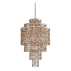 """Corbett Lighting - Dolcetti Chandelier by Corbett Lighting - Look closely and see the hundreds of expertly cut accents. Mixed shells, crystal and stainless steel all make up the absolutely stunning Corbett Lighting Dolcetti Chandelier, tiered and glittering in relaxed luxury. Available in three sizes to best complement the space.Corbett Lighting has been creating and manufacturing beautiful lighting for more than 40 years. Their products clearly demonstrate Corbett's dedication to original design and superior craftsmanship, combined with the finest glassware, shades and natural material. Solid brass castings, Italian glass, hand-forged iron and hand-painted finishes are just a few of the quality materials used in Corbett Lighting fixtures.The Corbett Lighting Dolcetti Chandelier is available with the following:Details:Mixed Shells with Crystal and Stainless Steel accentsHand crafted iron frameDolcetti Silver finishRound ceiling canopy12"""" stem48"""" chainUL ListedOptions:Size: Large, Medium, or Small.Lighting:Large option utilizes nineteen 60 Watt 120 Volt Candelabra Base Incandescent lamps (not included).Medium option utilizes thirteen 60 Watt 120 Volt Candelabra Base Incandescent lamps (not included).Small option utilizes seven 60 Watt 120 Volt Candelabra Base Incandescent lamps (not included).Shipping:This item usually ships within 3-4 weeks."""