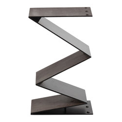 "Arteriors - Arteriors Zippe Iron/Leather Side Table by Barry Dixon - Zigzagging into geometric form, the Arteriors Zippe side table strikes a sculptural pose. Embossed shagreen lends designer Barry Dixon's intoxicating piece bold texture. 16""W x 12""D x 26""H; Matte black iron"