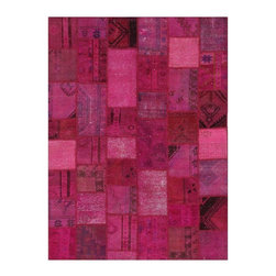 """Pre-owned Fuchsia Overdyed Turkish Patchwork Carpet - Traditional Turkish patterns from an assortment of vintage pieces mix to make this hand made, naturally distressed vintage rug. Full cotton backing and decorative blanket stitch edging.     Remnants of vintage wool on a cotton warp, made entirely by hand in the '60's through '80's when Turkish women still included weaving in their daily homemaking chores. Employing the sturdy double knot technique unique to Turkish rugs, multicolor floral and medallion motifs were created a row at a time using bright hand dyed wools. Considered too old fashioned for modern Turkish homes in their traditional incarnations, these rugs have languished in back rooms of the bazaars‰Ű_until now, as these fragments in excellent condition are overdyed and combined to create modern patchwork statements for the floor.    Note from the seller: """"Our revitalization process keeps rugs that may otherwise get tossed out of landfill. Repurposed discards are helping artisans connect and create, supporting the community we're building here in Istanbul to revive vanishing traditional fiber crafts.‰Űť    Please note that all sales are final - These amazing rugs are coming direct from Istanbul, Turkey and returns will not be allowed."""