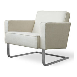 """Gus* - High Park Chair - High Park Chair  by Gus Modern    At A Glance:   The High Park Chair is like the """"business casual"""" version of a lounge chair. Its classy, understated good looks work just as well at a cocktail party as they do in an urban office or in a fancy restaurant - but at the same time, it's a comfortable chair. This beautifully thought out club chair with a stainless steel base and French seams offers a roomy seat to for you sit back and take it all in.  What's To Like:  You want mid-century looks? You got 'em. This is one well-balanced chair, with a strong - yet light - base and beautifully proportioned seat and back.French-seamed upholstery is finely detailed and durable, and is easy to dress up for company.  What's Not to Like:   We beg you: don't kick this lounge chair's base with bare feet.  The Bottom Line:   The High Park Chair from Gus Modern has a clean, tailored look, and is a stunning piece to incorp"""
