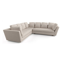 Viesso - Blumen L Sectional (Custom) - An arm to lean on. This modern sofa sectional is great for those who love to lounge. The high, angled arms provide a functional space to lean against, so that all sides of the sofa act as a comfortable backrest. Similar to a tuxedo style, the back and arms flow seamlessly to create very sexy lines throughout.