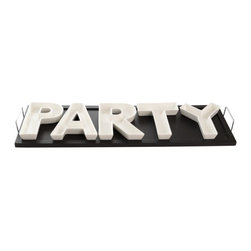 "PARTY Serving Dishes w/Tray 23 x 7"" - Set your party apart with these interesting plates set on a black wooden tray."