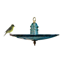 railroadware - Insulator Traffic light Bird Feeder - Made from a 12″ Glass Trafficlight Lens, a 100 year old pony insulator and a bicycle spoke hook. This birdfeeder or birdbath is instantly recognized by your friends and raptors. Most people are surprised by the size, color and texture of a 12″ trafficlight lens that typically is seen at a RR crossing.