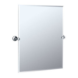 Max Collection Rectangular Tilting Mirror - This rectangular vanity mirror features sleek mounting brackets. Complement it with other pieces from the Max Collection.