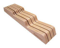 """Wusthof - Wusthof In-Drawer Storage Tray - Keep your most precious kitchen tools stored safely using this Wooden In-Drawer Knife Tray. Fits most drawers and provides 7 separate slots to accommodate knives of different lengths. It's a great way to prevent pitting and dulling of quality knives that would otherwise sit loosely with other knives and utensils. Always be sure to dry knives completely before storing. (Holds seven knives, up to 10"""" blade length, 31/2"""" width)."""