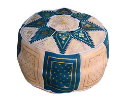 Moroccan Leather Pouf, Light Blue by Fez Art - Here's a traditional option done in a beautiful peacock blue. I especially love the pattern on this one.