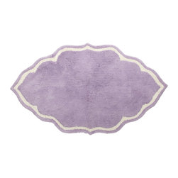 John Robshaw Lavender Shaped Bath Mat - Tufted, hand cut mats in a fun shape are perfect for stepping out of your shower.