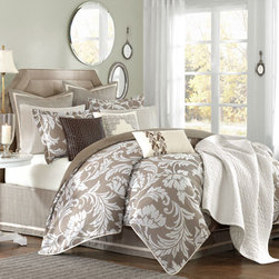 Hampton Hill - Belville Ten-Piece King Duvet Cover Set - -A sophisticated floral jacquard in shades of taupe and white. This collection is enhanced with the textural woven bed skirt and Euro Shams. The linen texture is enhanced with contrast banding on the Euro Shams and adjustable bed skirt. A very fresh approach that lends itself to many styles of interiors. Set includes: 1 King Duvet Cover, 2 King Shams,1 King Bed skirt, 3 Euro Shams and 3 Decorative Pillows Hampton Hill - JLA10-384