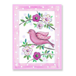Stupell Industries - Pink Bird On Branch with Polka Dot Border Wall Plaque - Made in USA. MDF Fiberboard. Hand finished and packed. Approx. 15 in. W x 11 in. L. 0.5 in. ThickThe Kids Room by Stupell features exceptional handcrafted wall decor for children of all ages.  Using original art designed by in-house artists, all pieces feature hand painted and grooved borders as well as colorful grosgrain ribbon for hanging.  Made in the USA, everything found in The Kids Room by Stupell exudes extraordinary detail with crisp vibrant color. Whether you are looking for one piece to match an existing room's theme, or looking for a series to bring the kid's room to life, you will most definitely find what you are looking for in The Kids Room by Stupell.