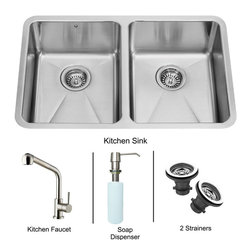 Vigo - All in One 29in.  Undermount Double Bowl Kitchen Sink and Faucet Set - Create an inviting new look in your kitchen with a VIGO All in One Kitchen Set featuring a 29in.  Undermount kitchen sink, faucet, soap dispenser, and two sink strainers.