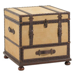 Lexington - Lexington Fieldale Lodge Gunnison Trunk Table - The Gunnison Trunk Table brings casual elegance and innovative storage space into your home. The exterior is exquisitely detailed with leather strapping, nail head trim, and aged antique brass hardware. There is a drawer for storage at the bottom, and the top lid opens to reveal a sliding removable tray with an exterior drawer for file storage below. Use the trunk as an end table in your living room seating area or as a conversation-starting accent piece in any room of your home.
