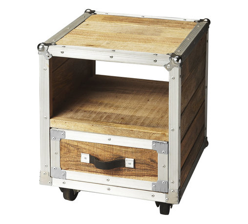 Rambler Side Table - Done in recycled wood and polished aluminum, this cubic end table has a look reminicsient of both old shipping crates and sleek retro luggage. A leather drawer pull completes the traveler-esque styling for a chic, gently industrial addition to your home.